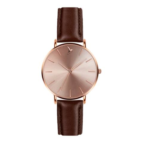 Emily Westwood Women's Brown Leather Watch