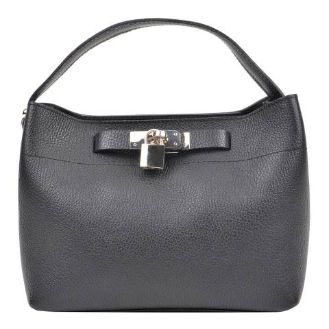 Isabella Rhea Black Leather Roberta M Shoulder Bag