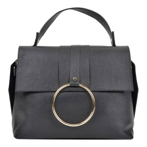 Roberta M Black Leather Roberta M Top Handle Bag