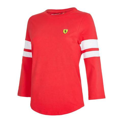 Scuderia Ferrari Women's Red Race 3/4 Sleeve Top