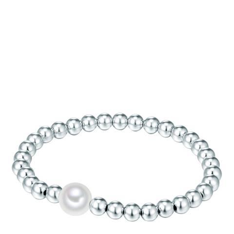 Nova Pearls Copenhagen Silver Plated/White Organic Pearl Elastic Bracelet