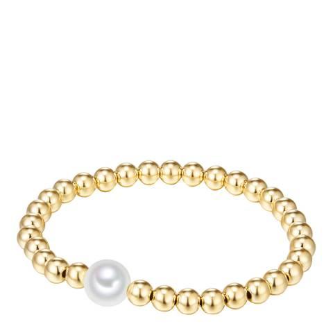 Nova Pearls Copenhagen Yellow Gold Plated/White Organic Pearl Elastic Bracelet