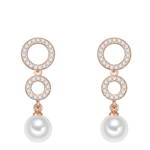 Nova Pearls Copenhagen Rose Gold Plated/White Organic Pearl Drop Round Earrings