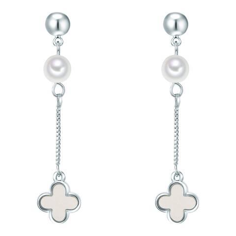 Nova Pearls Copenhagen Silver Plated/White Organic Pearl Drop Earrings