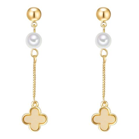 Nova Pearls Copenhagen Yellow Gold Plated/White Organic Pearl Drop Earrings