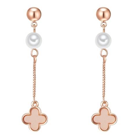 Nova Pearls Copenhagen Rose Gold Plated/White Organic Pearl Drop Earrings