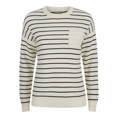 Jaeger Cream Stripe Cashmere Blend Jumper