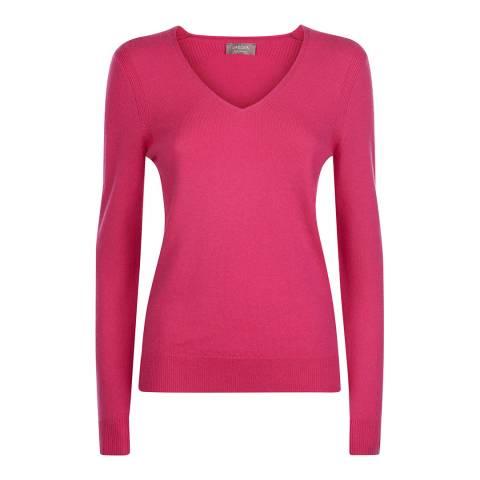 Jaeger Hot Pink V Neck Cashmere Blend Jumper