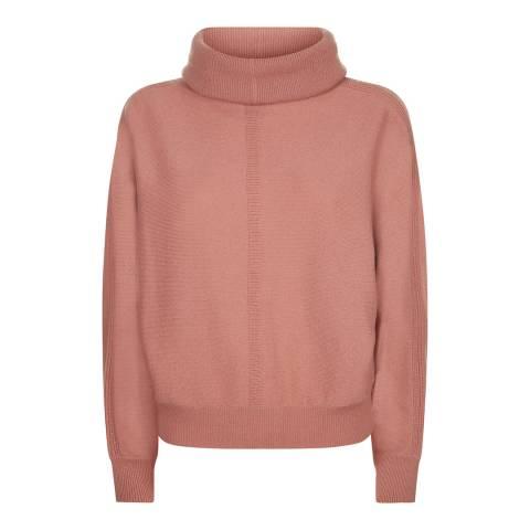Jaeger Pale Pink Slouchy Cowl Neck Cashmere Blend Jumper