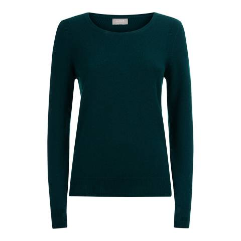 Jaeger Dark Green Crew Neck Cashmere Blend Jumper