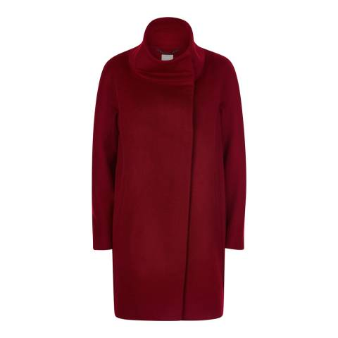 Jaeger Red Wool Blend Cocoon Coat