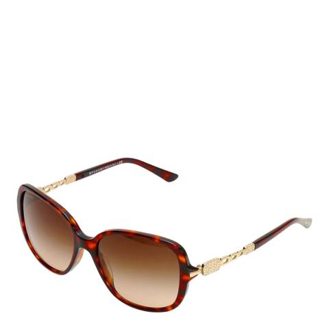 Bvlgari Women's Brown Havana Bvlgari Sunglasses 56mm