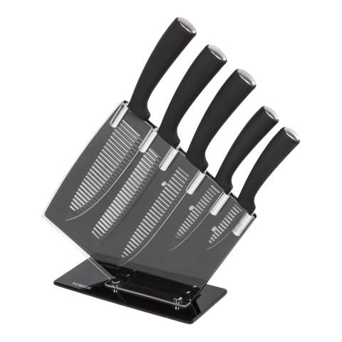 Tower 6 Piece Groove Knife Block