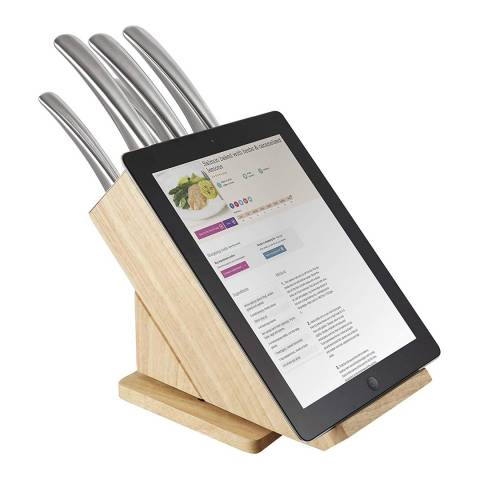 Tower 5 Piece Natural Wood Effect Rotating Knife Block