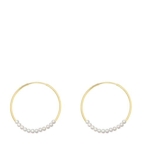White label by Liv Oliver 18K Gold Plated Hoop And Multi Pearl Earrings