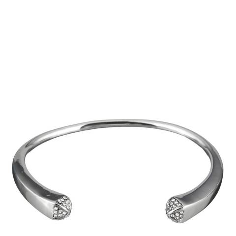 Black Label by Liv Oliver Silver Plated Pave Cuff Bangle