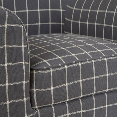 Medan Chair Linen Cotton Rubberwood Hevea Grey Check