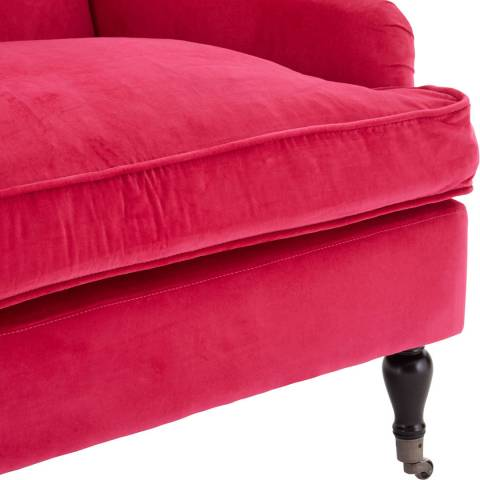 Large Plush Armchair Pink Cotton Velvet Birchwood Legs