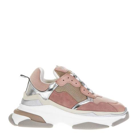 Elena Iachi Pink Suede Mesh Chunky Sneakers