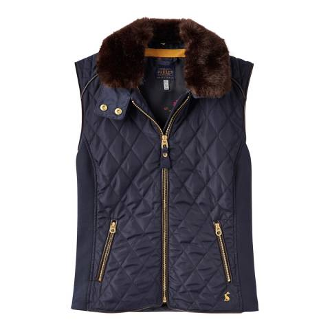 Joules Navy Inverness Quilted Gilet with Faux Fur Collar