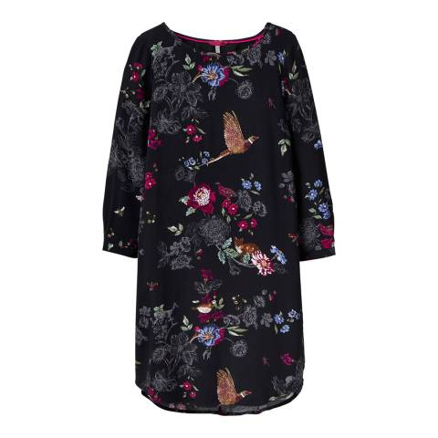 Joules Black Floral Lyris Full Sleeve Dress