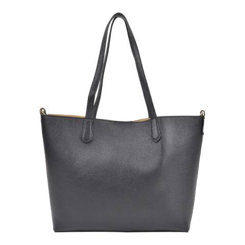 Roberta M Black Leather Roberta Top Tote Bag