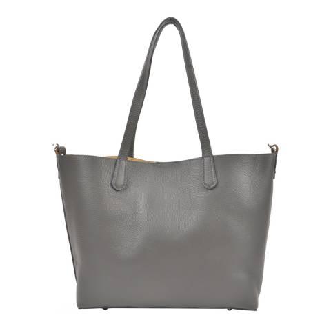 Roberta M Grey Leather Roberta Top Tote Bag