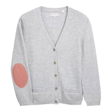 Chinti and Parker Grey/Pink Short Cashmere Cardigan