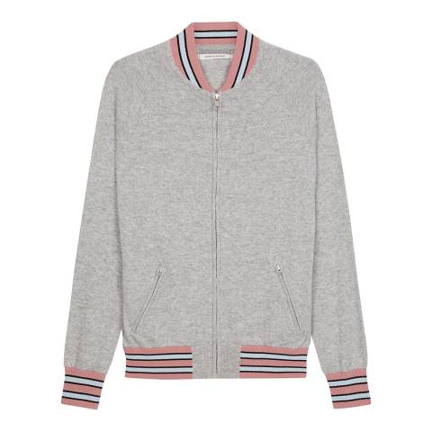 Chinti and Parker Grey/Multi Cashmere Knitted Bomber