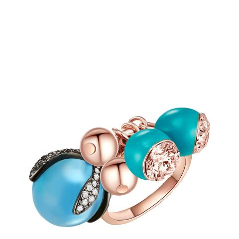 Lilly & Chloe Rose Gold/Turquoise Cluster Bead Ring With Swarovski Crystals