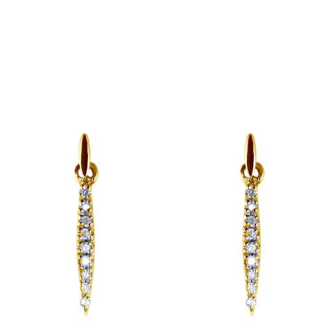 Only You Yellow Gold Navettes Diamond Earrings 0,035 Cts