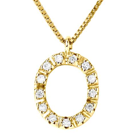 Only You Yellow Gold Letter O Diamond Necklace