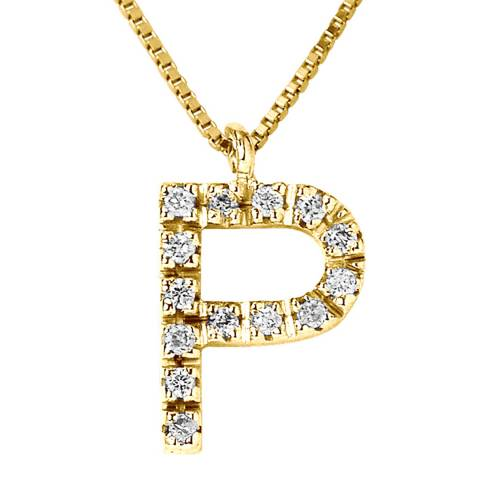 Only You Yellow Gold Letter P Diamond Necklace