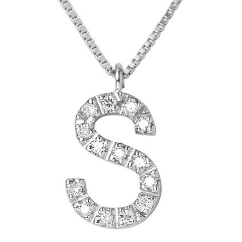 Only You White Gold Letter S Diamond Necklace