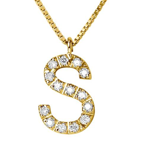 Only You Yellow Gold Letter S Diamond Necklace
