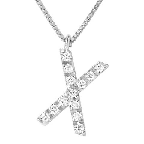 Pretty Solos White Gold Letter X Diamond Necklace