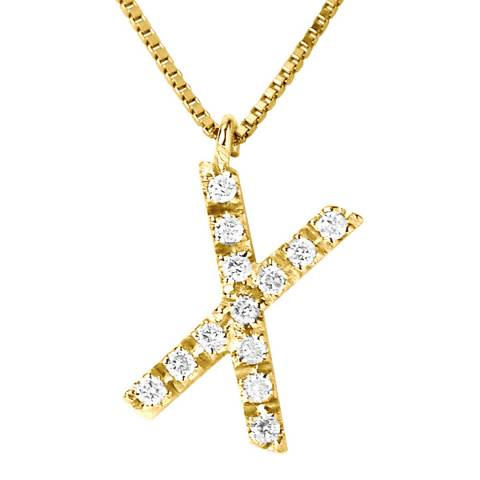 Only You Yellow Gold  Letter X Diamond Necklace