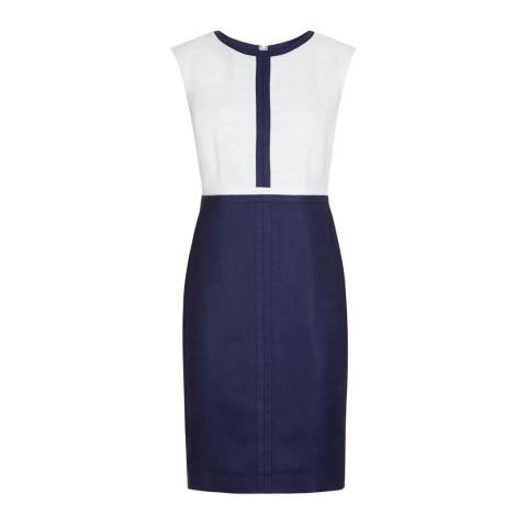 Hobbs London Ivory/Blue Sorcha Dress