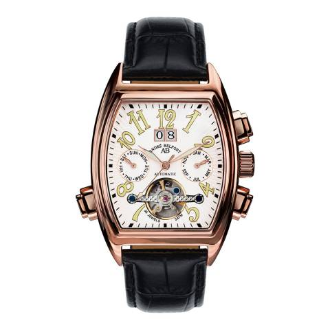 Andre Belfort Mens Rose Gold/White Leather Strap Royale Watch