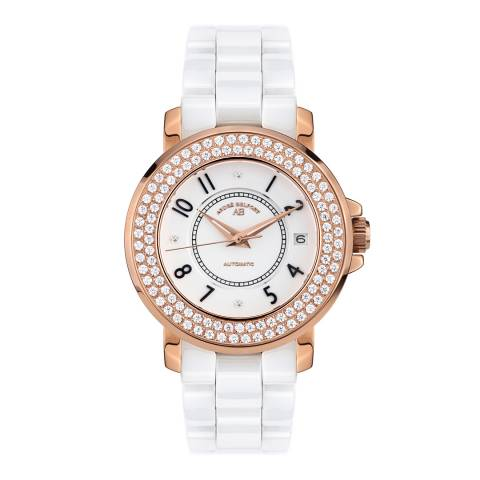 Andre Belfort Women's White / Rose Gold Zirconia Aphrodite Watch