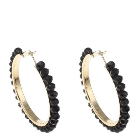 Chloe Collection by Liv Oliver 18k Gold Plated/ Black Crystal Hoop Earrings