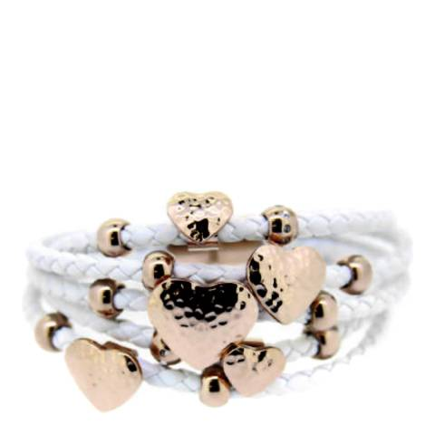 Chloe Collection by Liv Oliver 18k Rose Gold Multi Strand White Leather Heart Bracelet