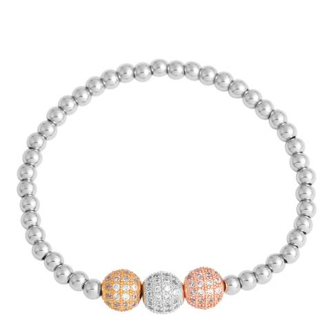 Chloe Collection by Liv Oliver Silver Tri Colour Ball Bracelet