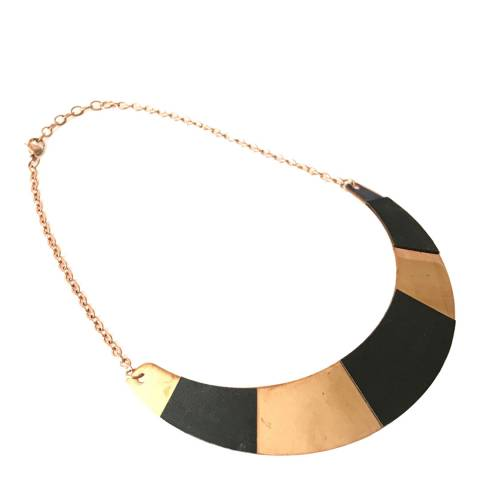 Chloe by Liv Oliver 18k Rose Gold & Black Leather Collar Necklace