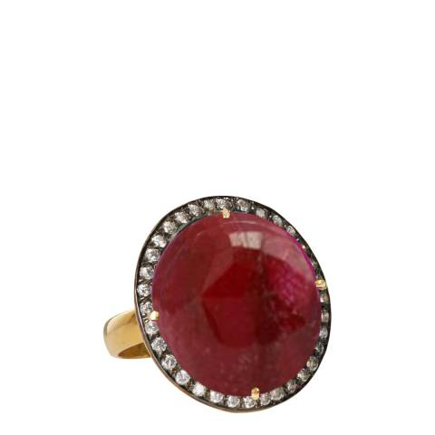 Liv Oliver 18K Gold Ruby CZ Statement Ring