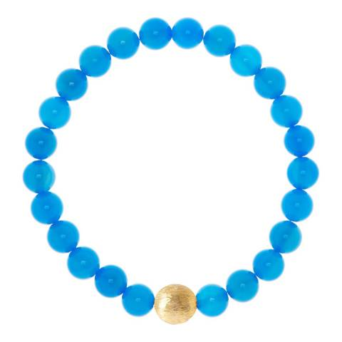 Liv Oliver 18k Matte Gold Plated/ Blue Gemstone Bracelet