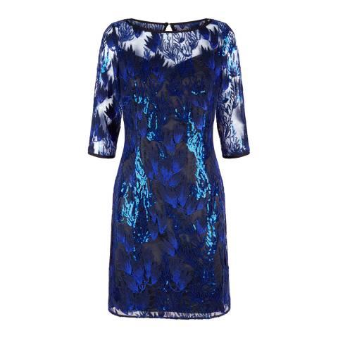 Fenn Wright Manson Black/ Blue Corina Dress Petite