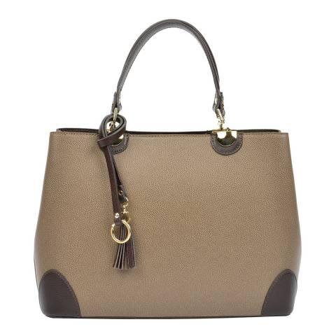 Isabella Rhea Beige Leather Isabella Rhea Top Handle Bag