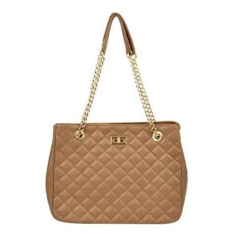 Isabella Rhea Beige Leather Isabella Rhea Shoulder Bag