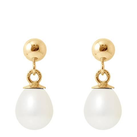 Ateliers Saint Germain White Tahitian Style Gold Freshwater Pearl Earrings